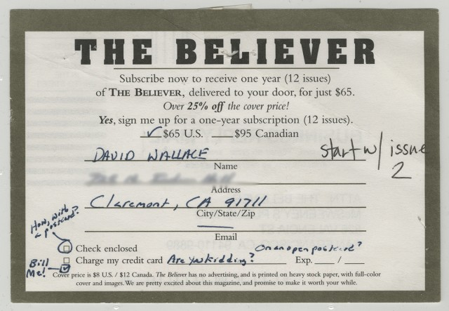 Mcsweeney's DFW believer card