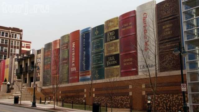 Kansas City Library Book Wall