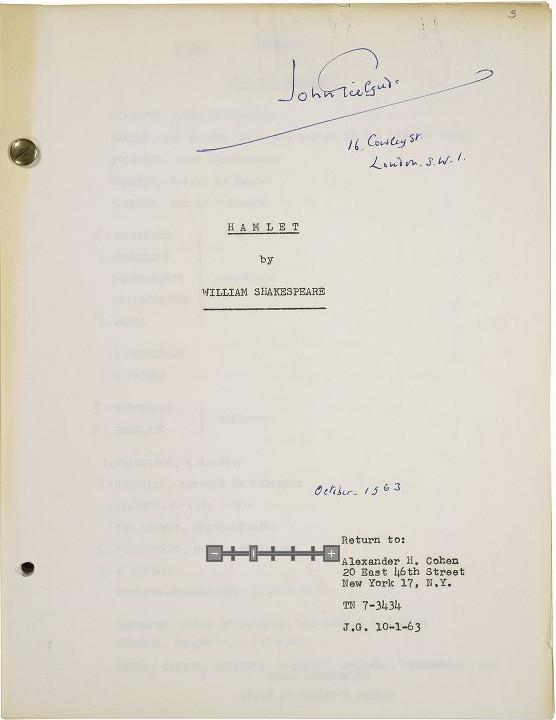 Folger Gielgud type script Hamleet