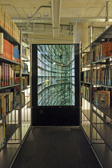 Nicolas Grospierre The Never-Ending Corridor of Books lightbox and mirrors 1