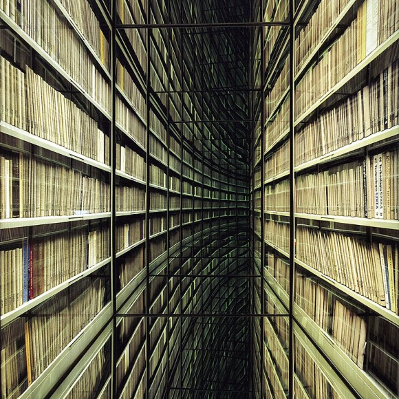 Nicolas Grospierre The Never-Ending Corridor of Books lightbox and mirrors