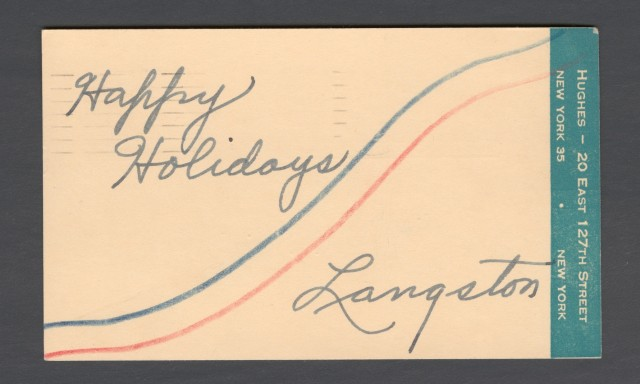 Poets House exhibition Langston Hughes card