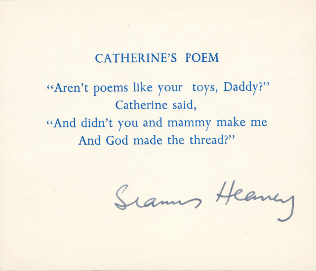 Poets House exhibition seamus heaney